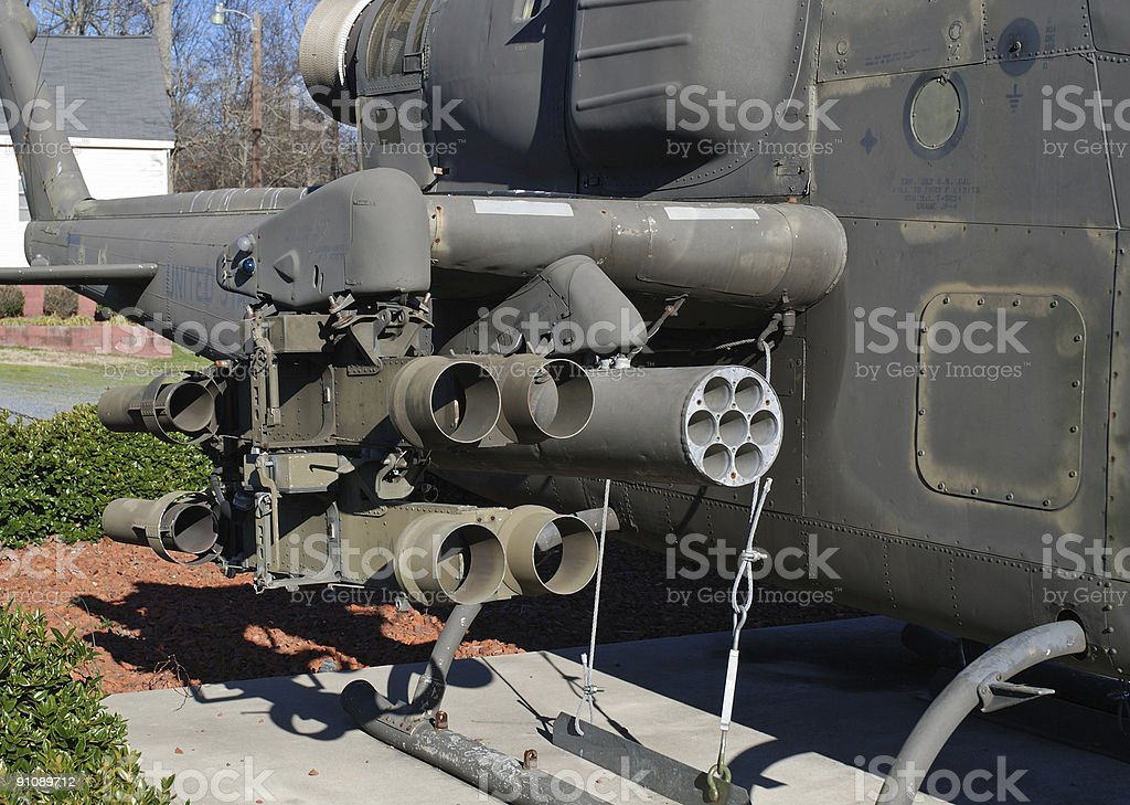 Gun section of Cobra helicopter royalty-free stock photo