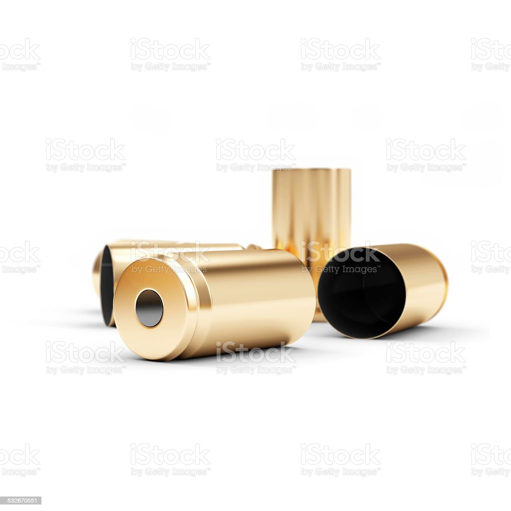Gun Shell Casings isolated on white background stock photo