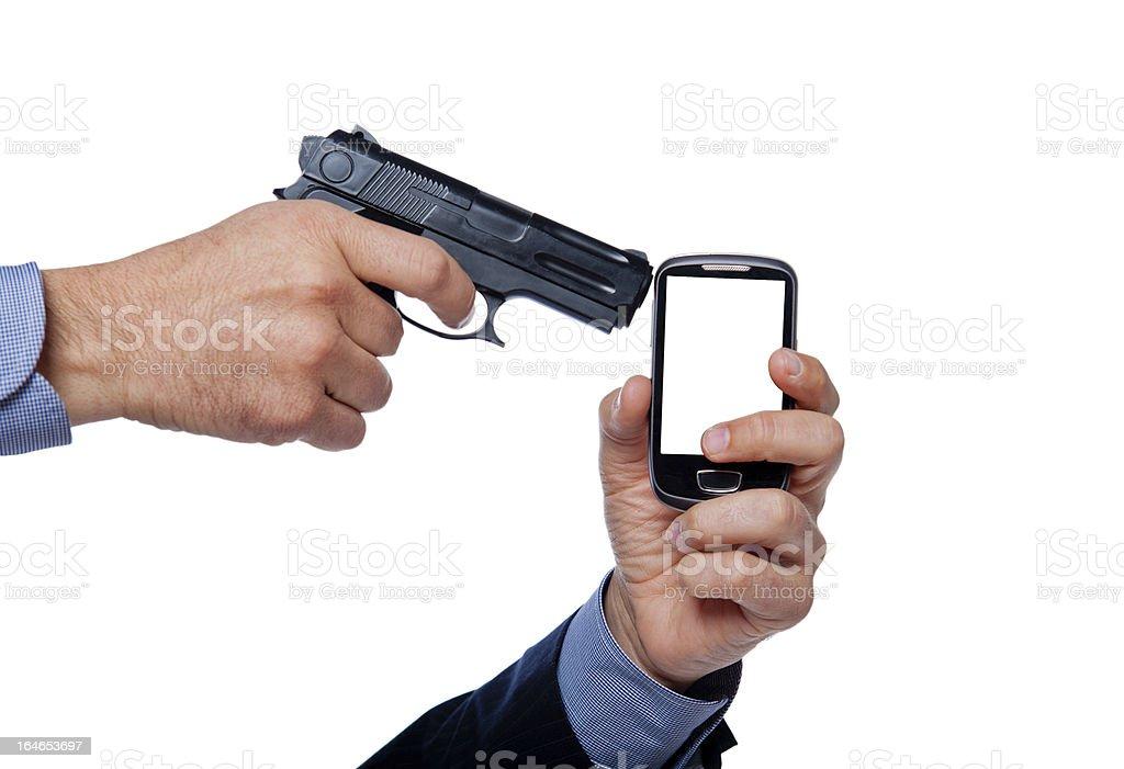 gun shoot a cell phone royalty-free stock photo