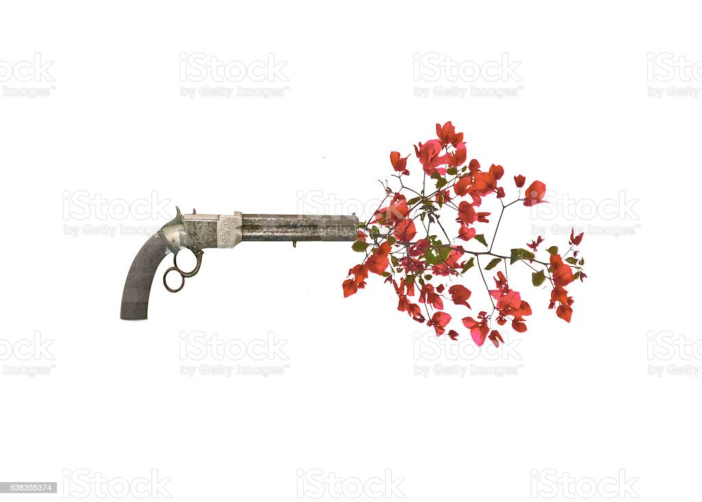Gun Shooting Up Flowers stock photo