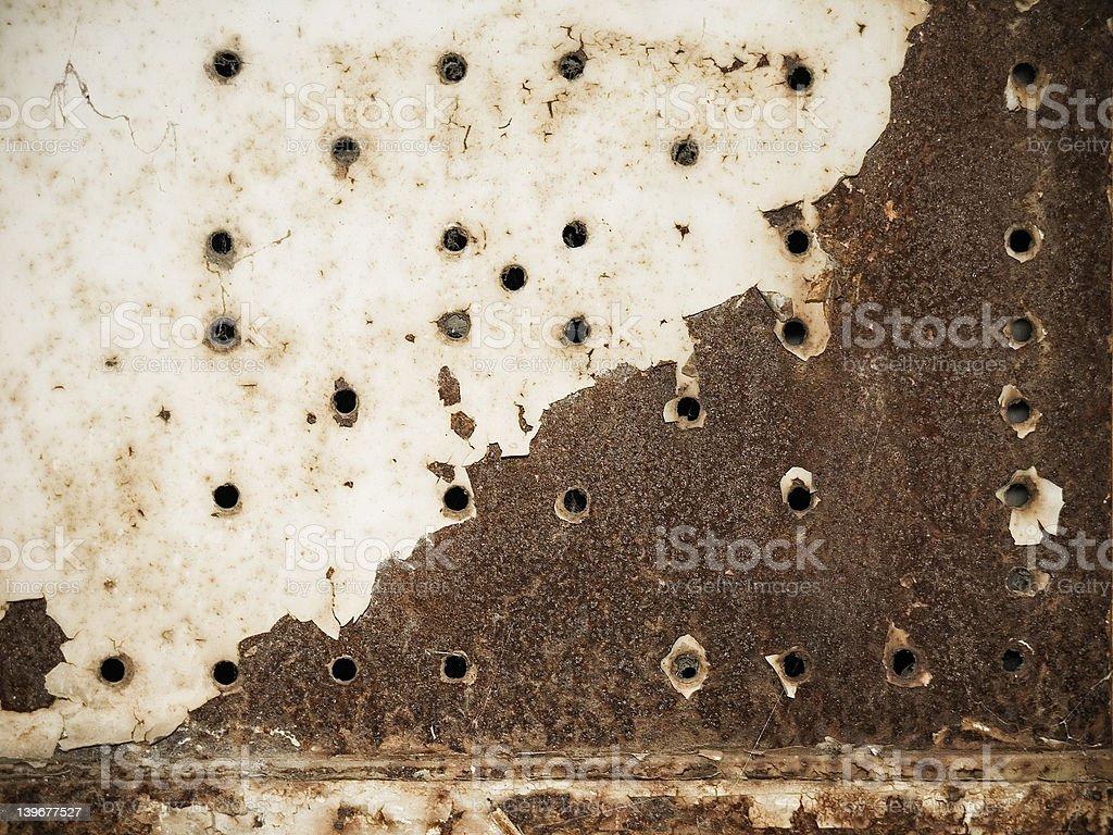 gun shot on rust royalty-free stock photo