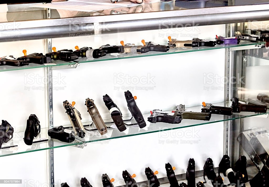 Gun Showcase in Retail Store stock photo
