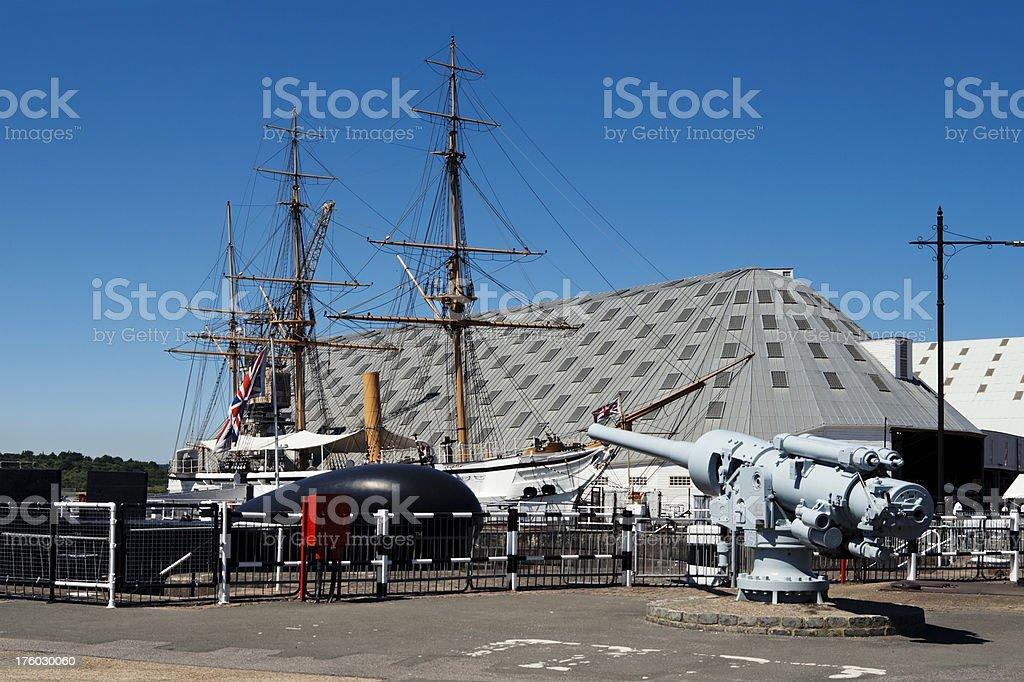 Gun, submarine and sailing ship at Chatham stock photo