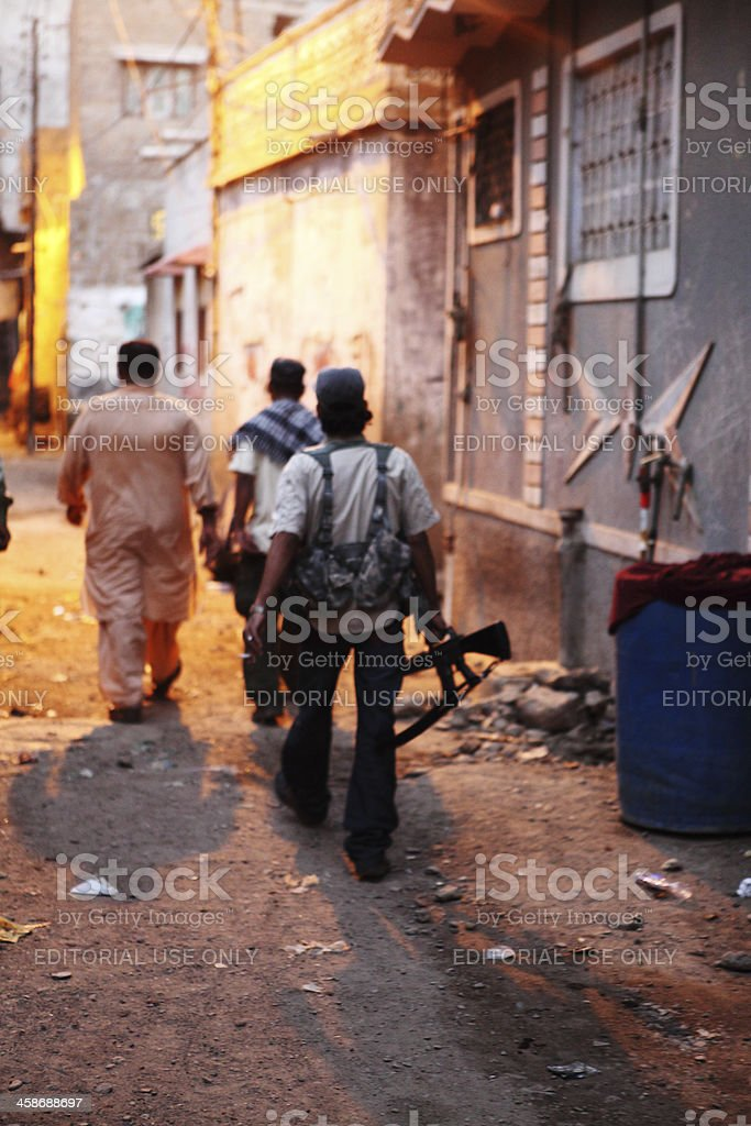 Gun Toting Militants of Lyari Underworld Gangs in Karachi stock photo