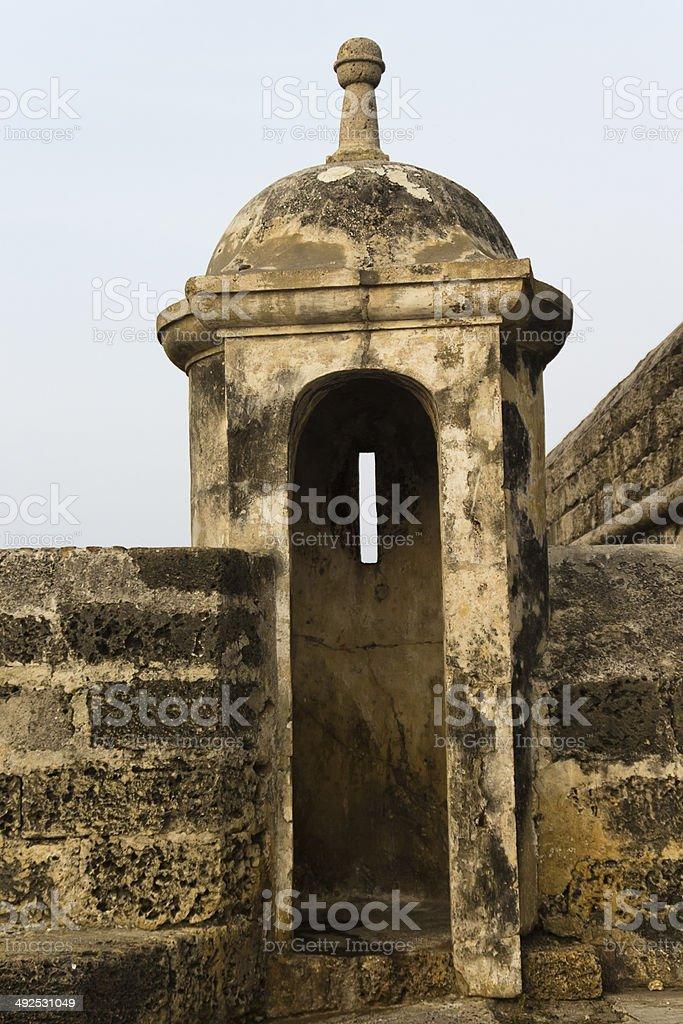 Gun tower at Cartagena royalty-free stock photo