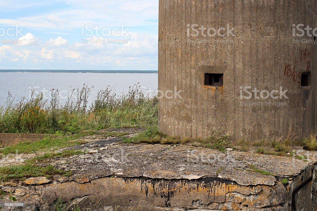 gun turret sea fort stock photo