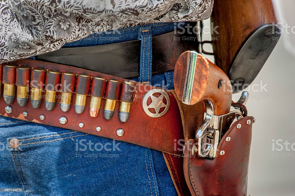 Gunbelt, Cartridges and Pistol stock photo