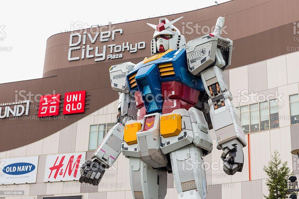 Gundam statue life size standing in Odaiba stock photo