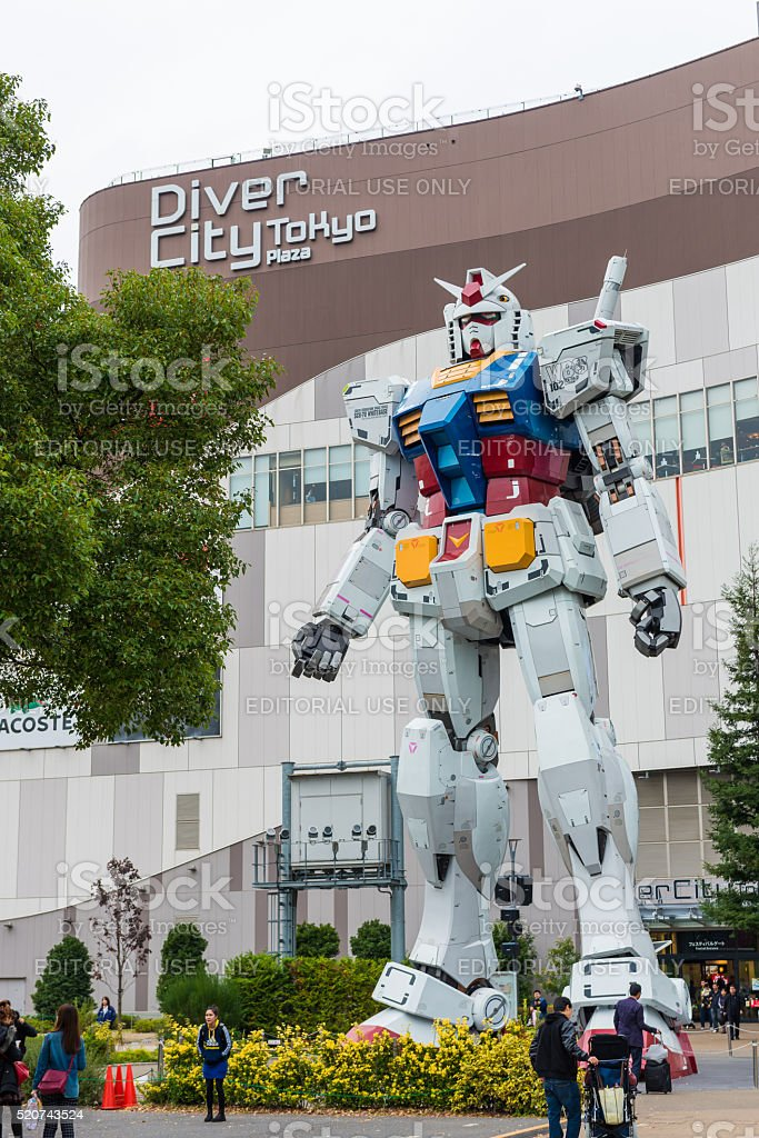 Gundam statue life size standing in Odaiba stock photo