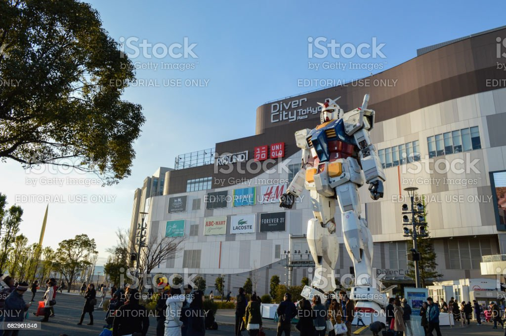 Gundam Statue Model Performances Outside Diver City Tokyo Plaza stock photo