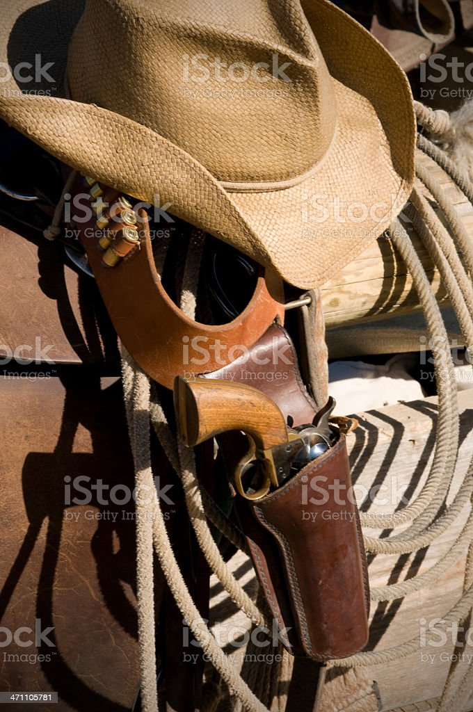 Gun,hat and lasso royalty-free stock photo