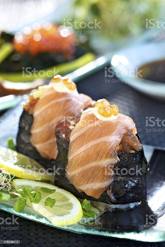 Gunkan maki with tuna and salmon royalty-free stock photo