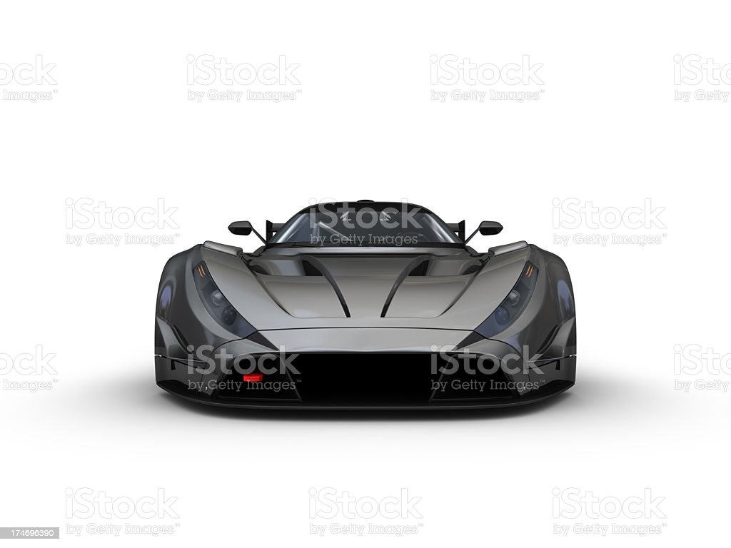 Gunmetal grey sports car, facing towards camera  stock photo