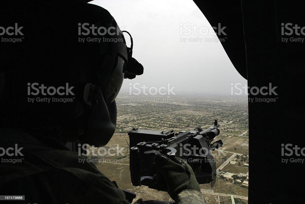 gunner over Baghdad stock photo
