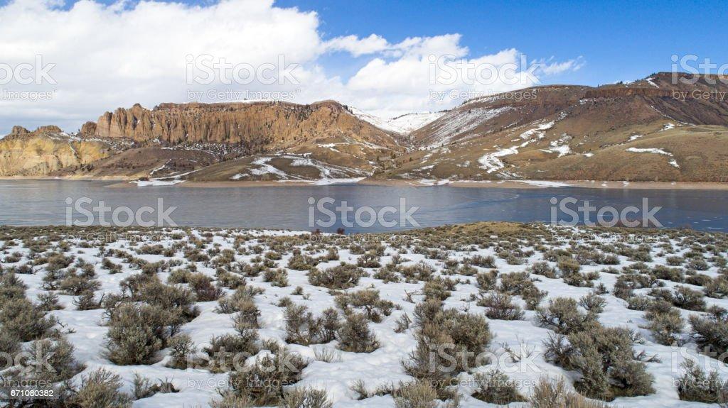 Gunnison River, Colorado USA - Sunny Day Winter Snow stock photo