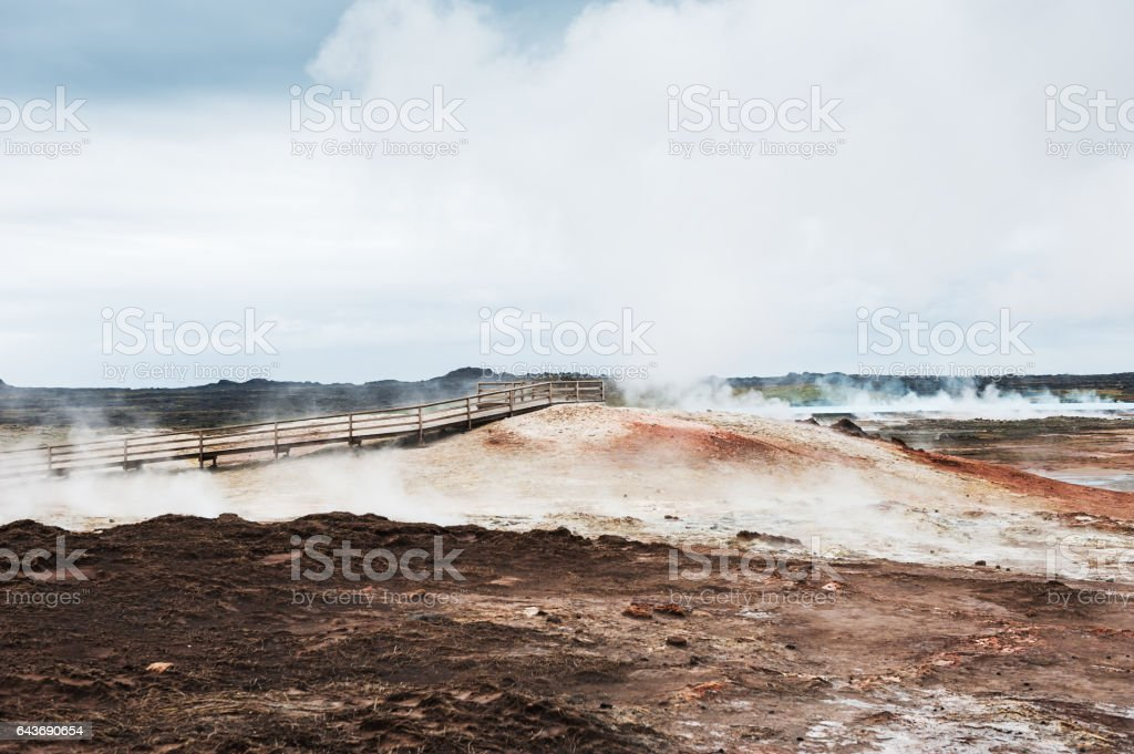Gunnuhver geothermal area in Iceland stock photo