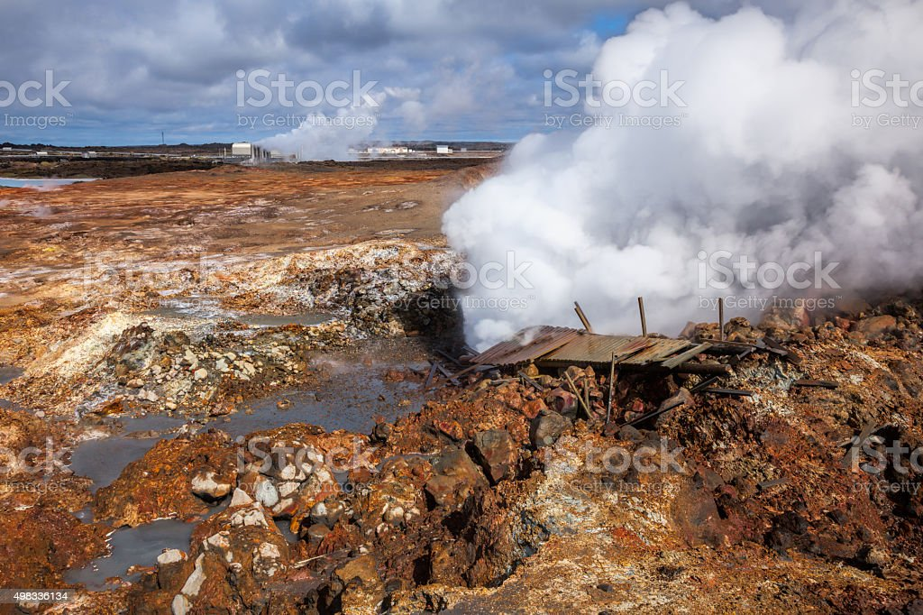 Gunnuhver geothermal area in Reykjanes Peninsula of Southern Ice stock photo