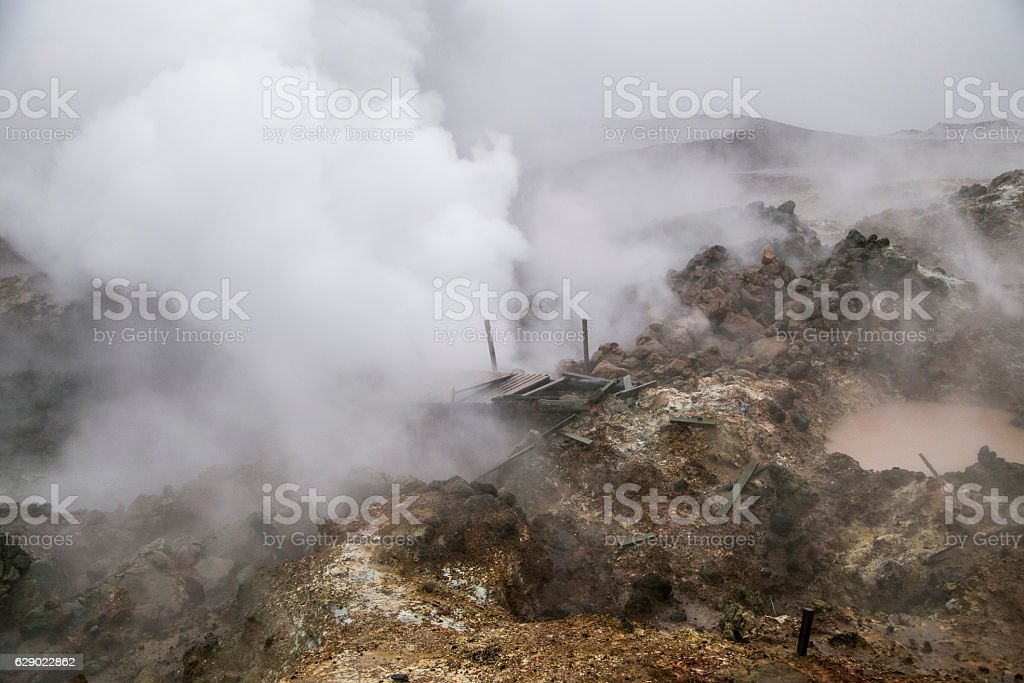Gunnuhver mud pools and steam vents stock photo