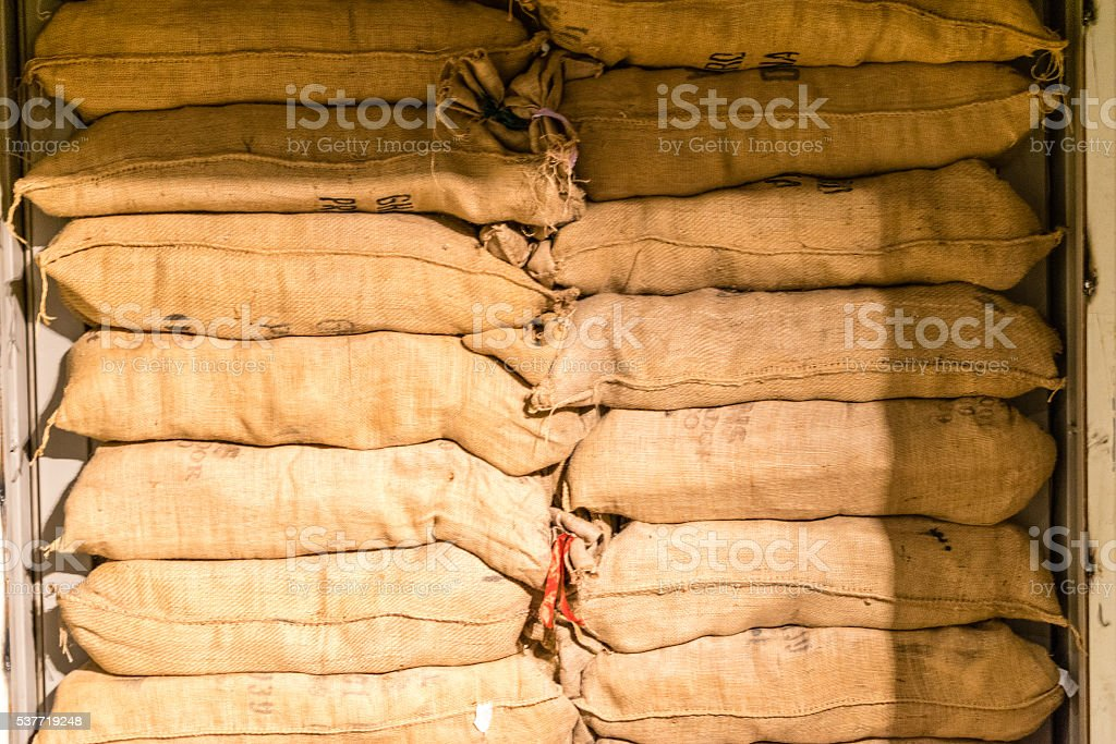 Gunnysack stacked on top of each other stock photo