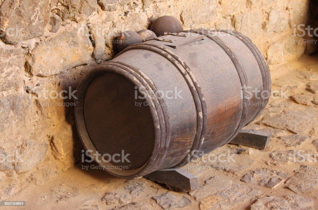 Gunpowder barrel stock photo