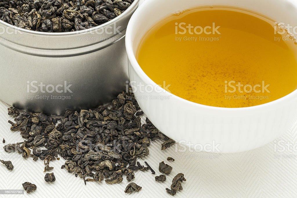 gunpowder green tea stock photo