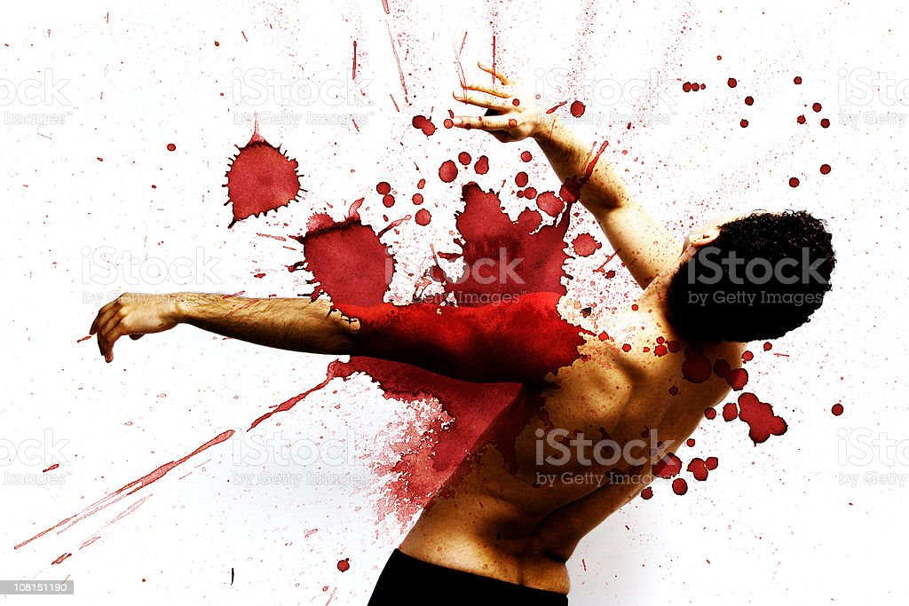Gunshot victim (graphic) royalty-free stock photo