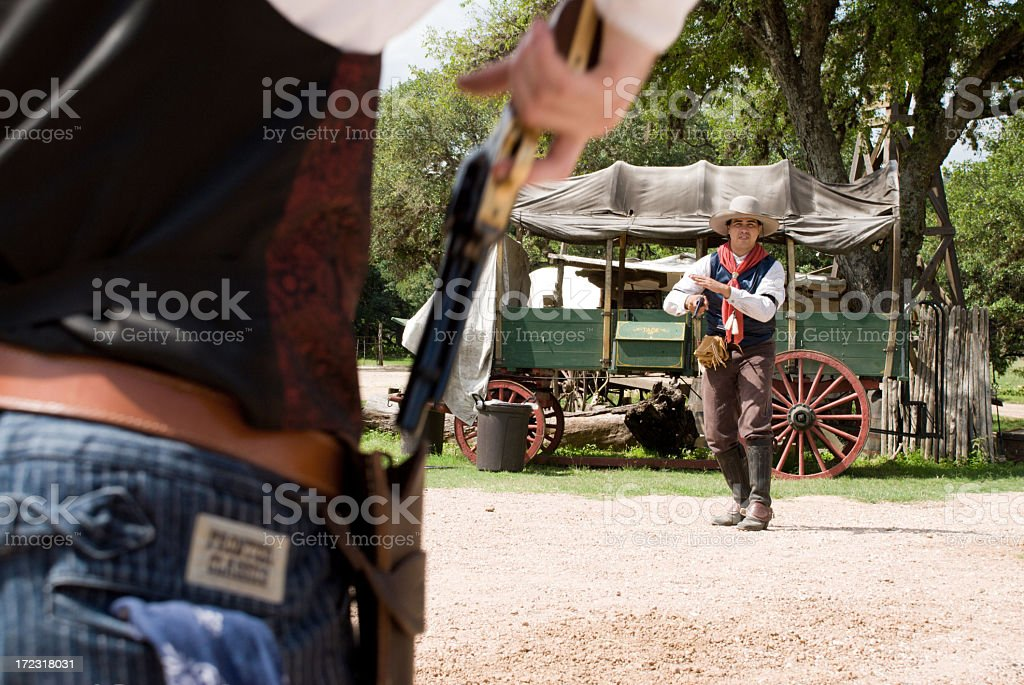Gunslinger Shootout stock photo