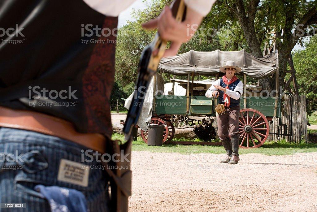 Gunslinger Shootout stock photo