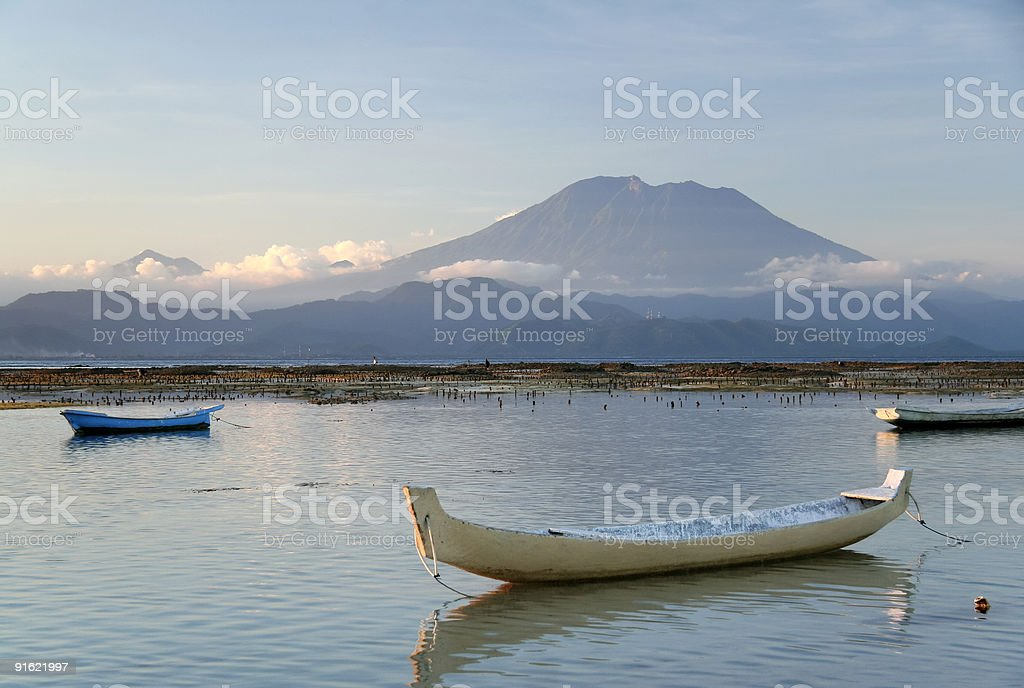 gunung agung volcano bali boats indonesia stock photo