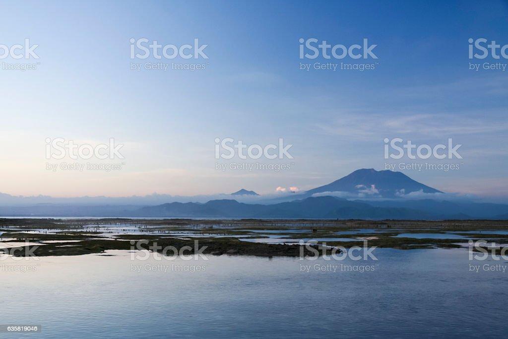 gunung agung volcano bali indonesia stock photo
