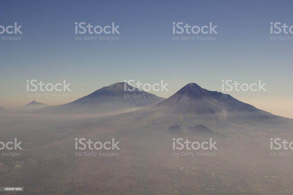 Gunung Merbabu & Letusan Merapi stock photo