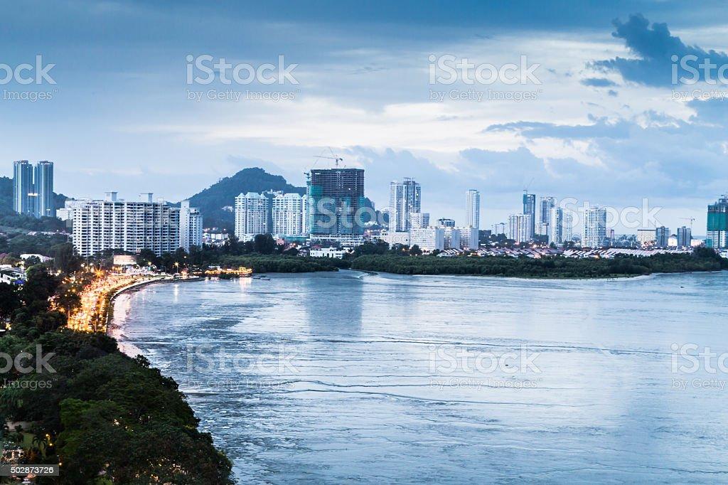 Gurney Drive, Penang popular tourism destination during dusk hou stock photo
