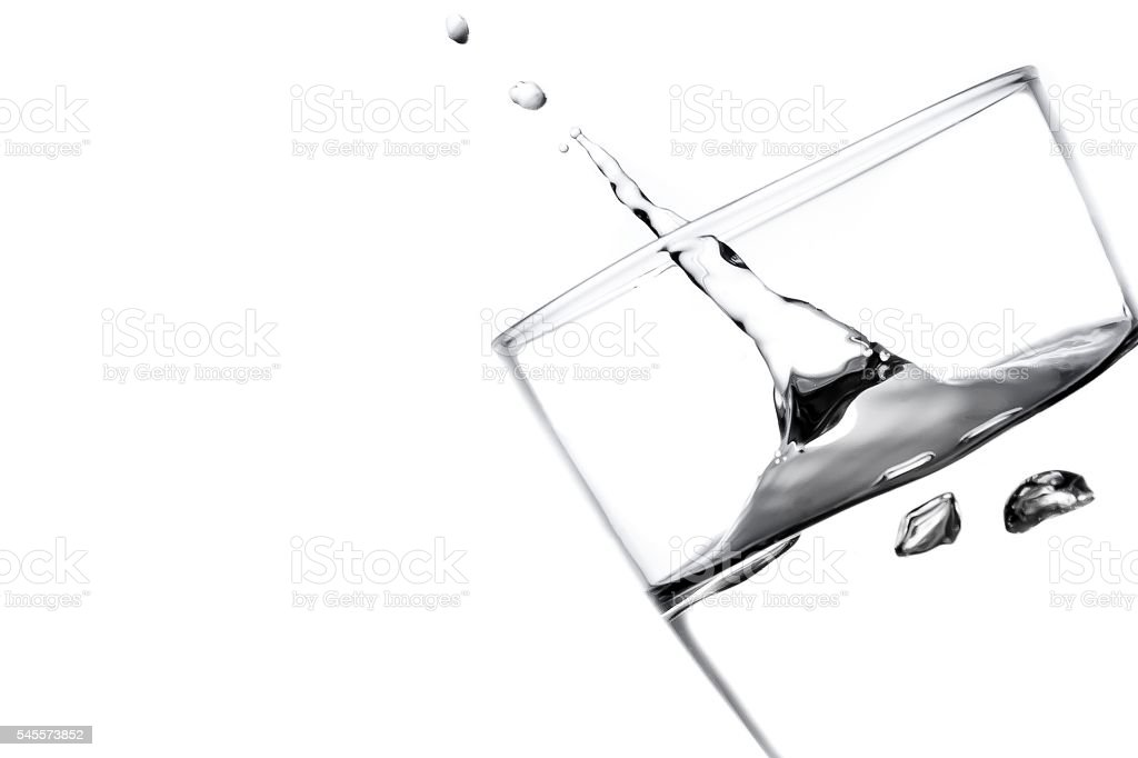 gush of water in a glass stock photo