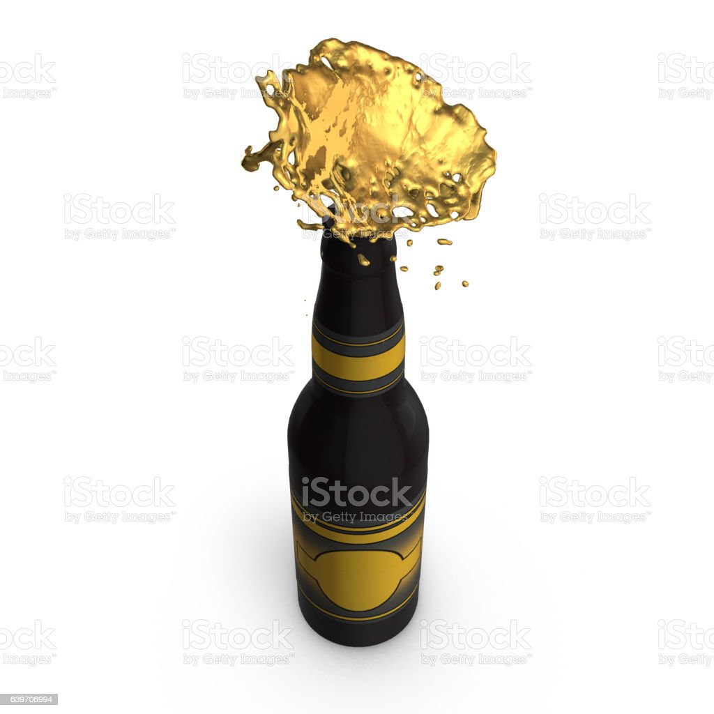 Gushing Beer Bottle stock photo