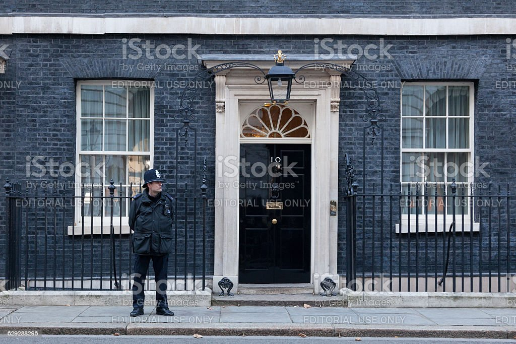 Gusrds at 10 Downing Street stock photo