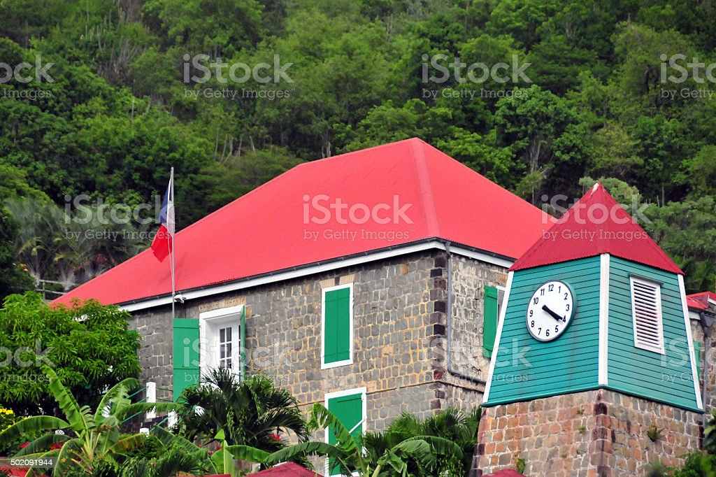 Gustavia, St. Barts: the Subprefecture building and the Vieux Clocher stock photo