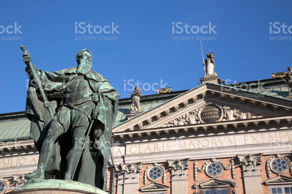 Gustavo Erici Statue by Hubert (1773); Riddarhuset - Riddarhustorget Palace; Stockholm stock photo