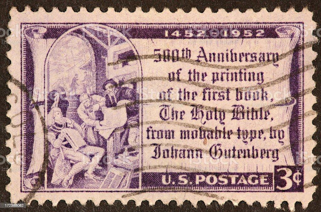 Gutenberg Bible stamp 1952 stock photo