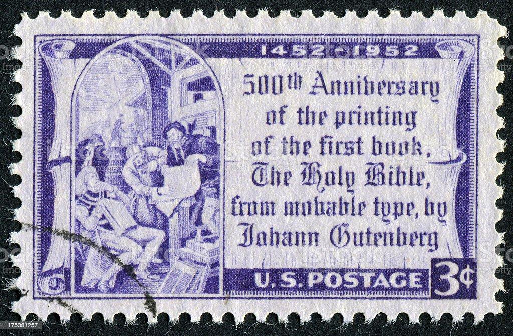 Gutenberg Bible Stamp stock photo