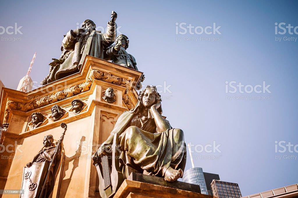 Gutenberg Memorial in Frankfurt am Main stock photo