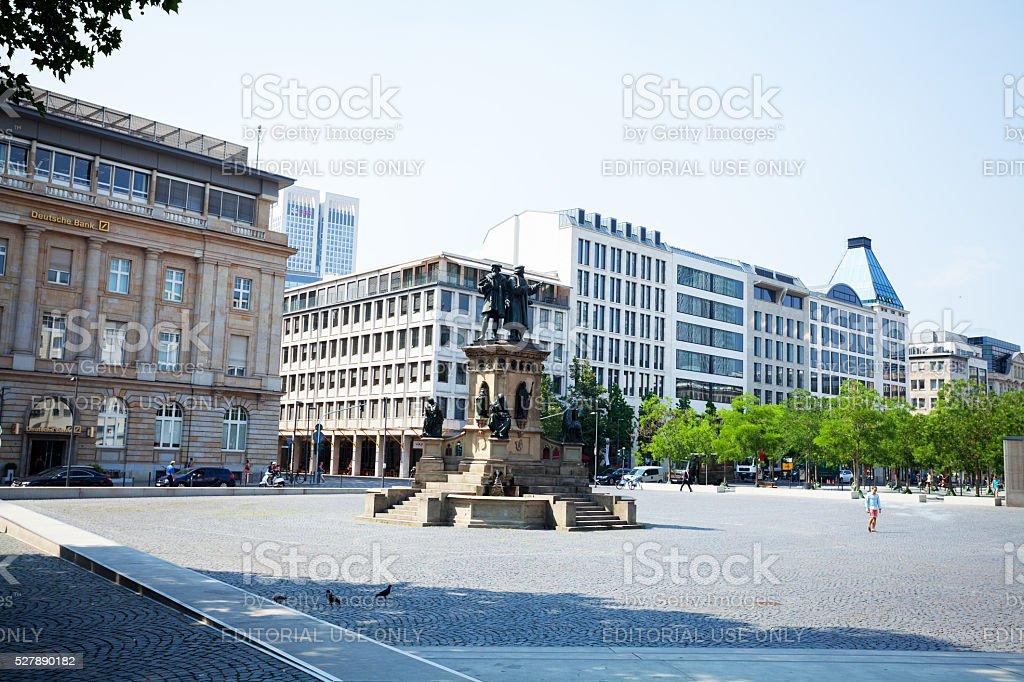 Gutenberg monument and square Goetheplatz stock photo