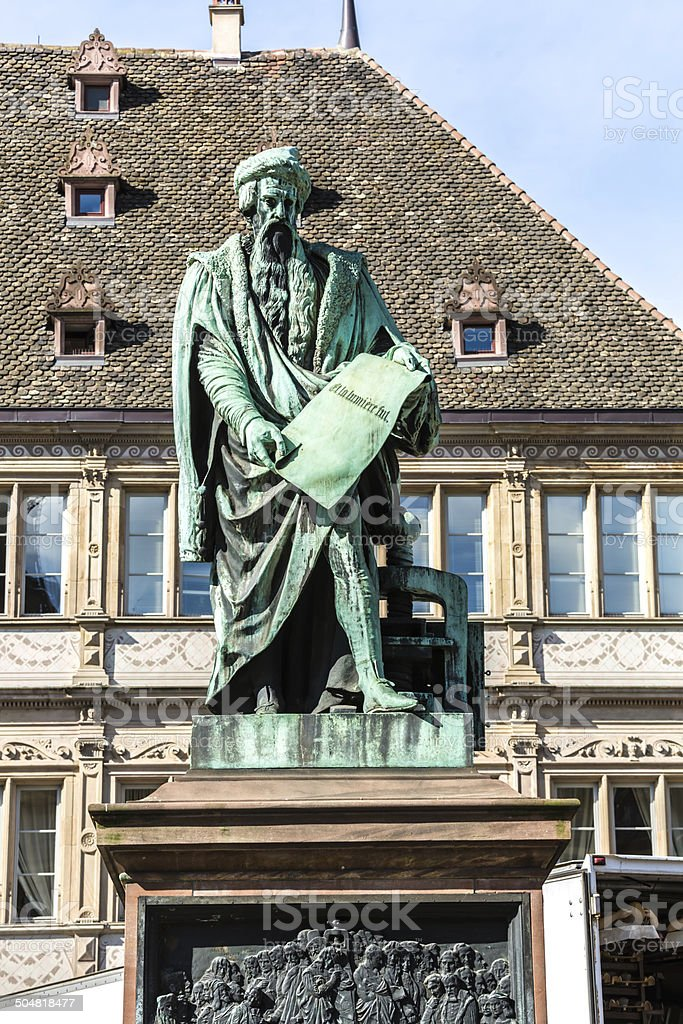 Gutenberg monument in Strasbourg royalty-free stock photo
