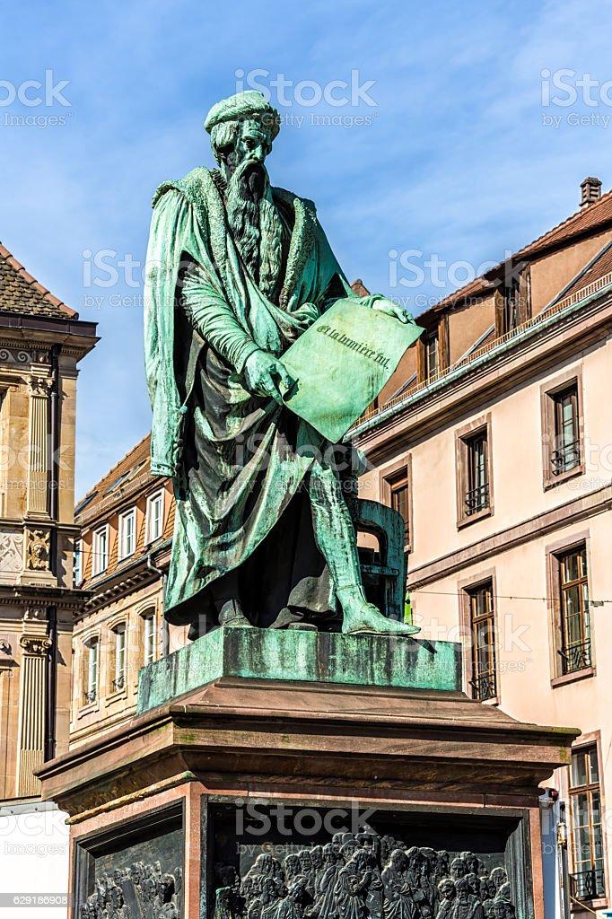 Gutenberg monument in Strasbourg stock photo
