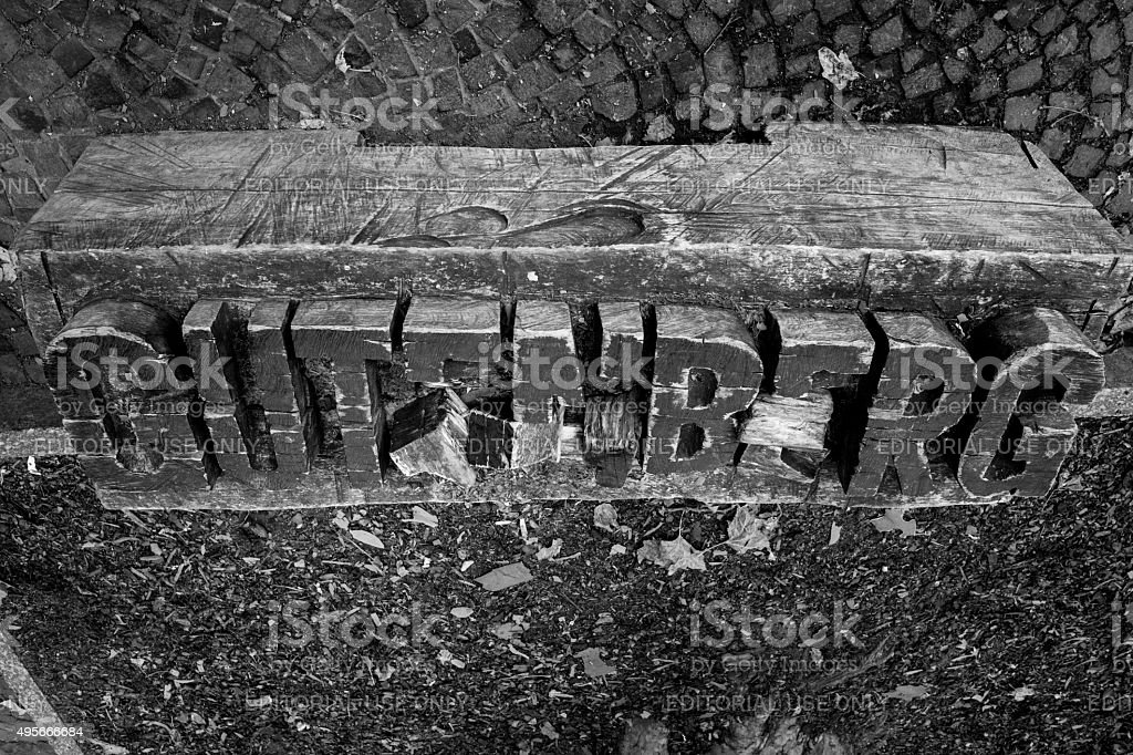 gutenberg name carved on wood in mainz germany stock photo