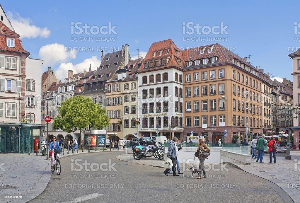 Gutenberg Square in Strasbourg, France stock photo