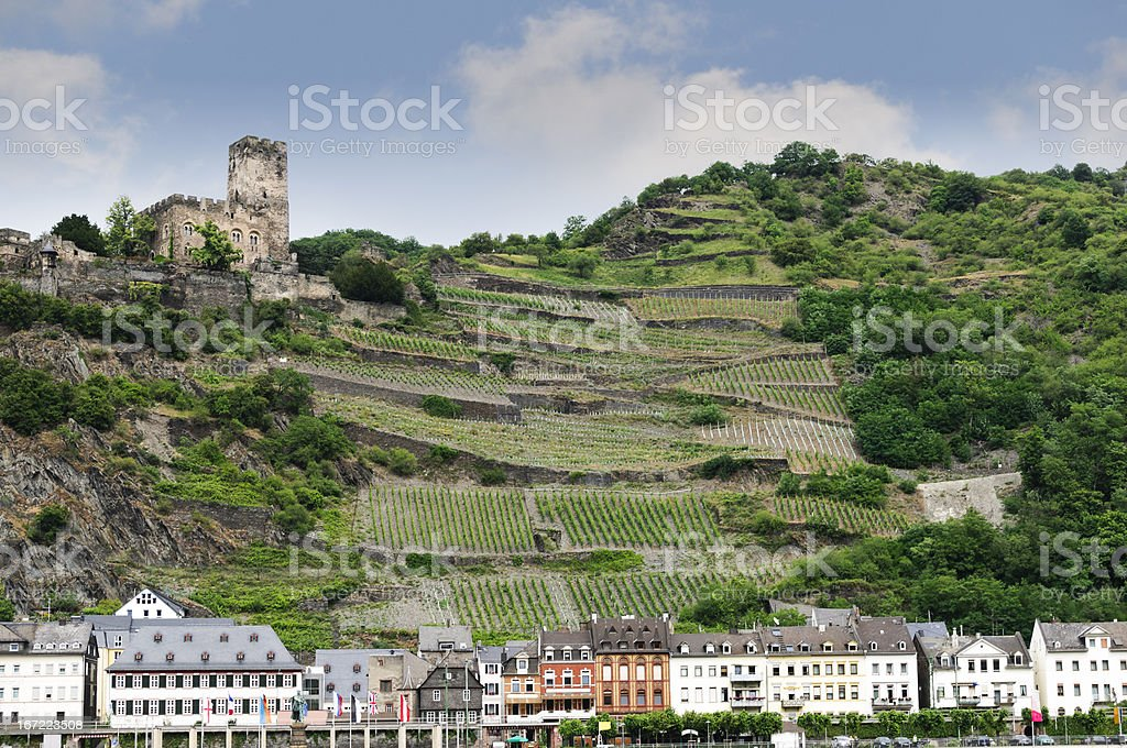 Gutenfels Castle overlooking the town of Kaub, Germany royalty-free stock photo