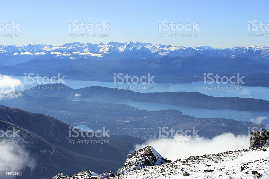 Gutierrez Lake seen from Lynch Refuge at Andes mountains Patagonia stock photo