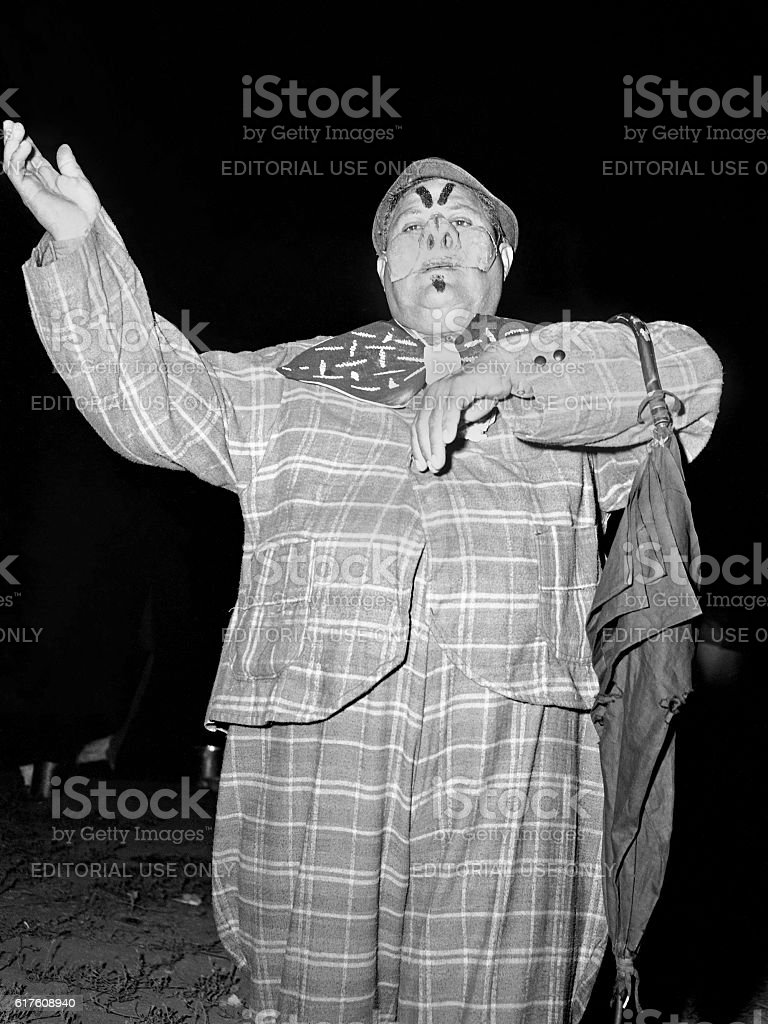 Gutierrez Show clown at night 1947 stock photo