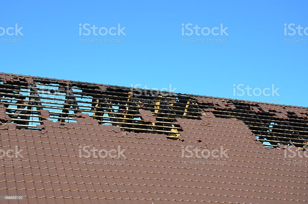 gutted roof truss stock photo