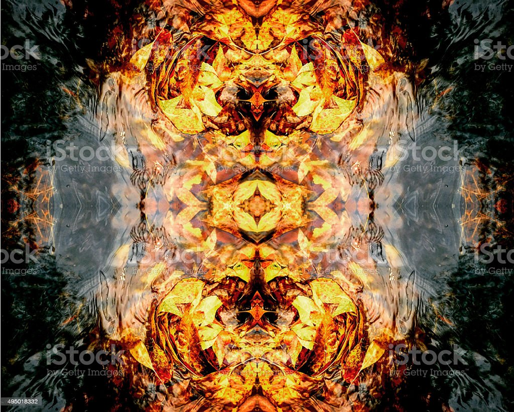 Gutter leaves abstract kaleidoscope royalty-free stock photo